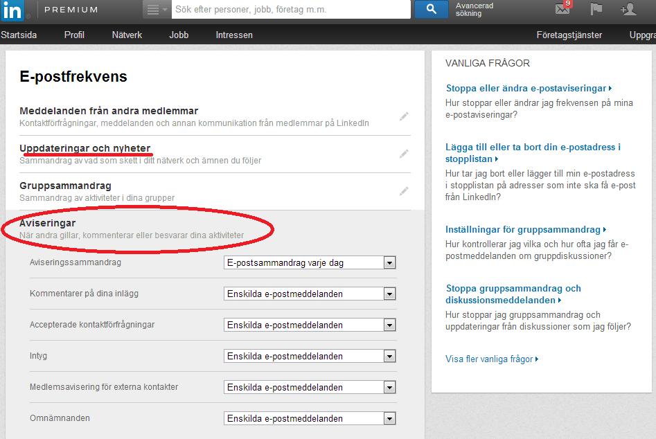 För mycket e-mail från LinkedIn?