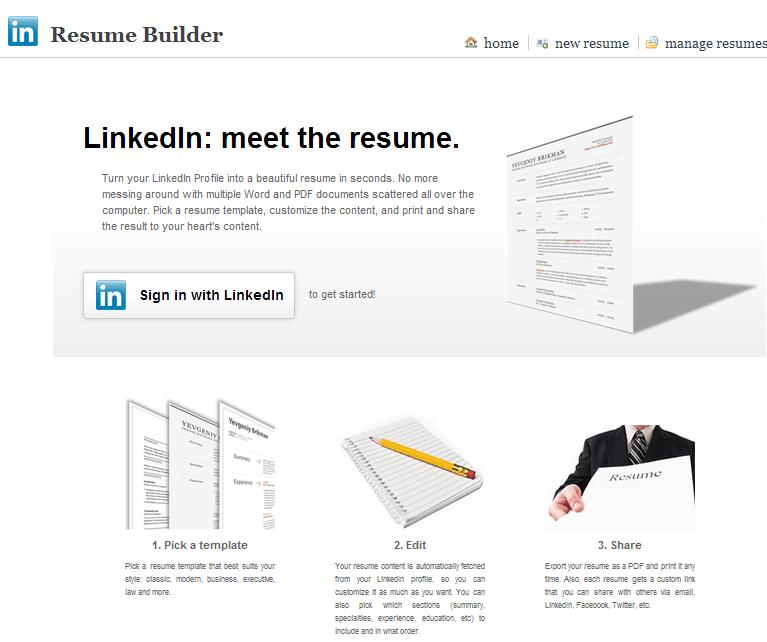 Resume Builder gör din LinkedIn profil till en CV