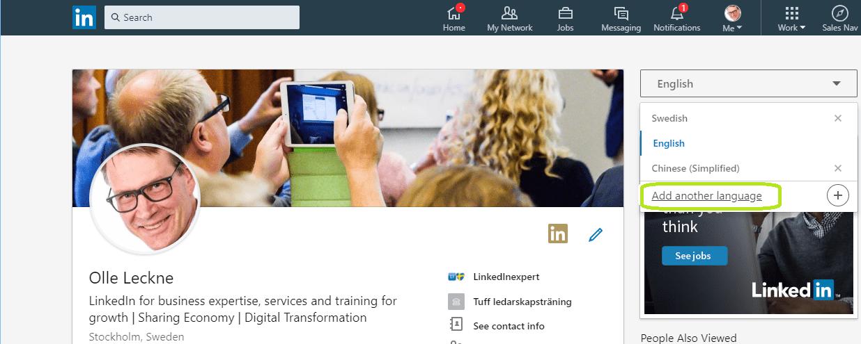 Skapa en LinkedIn profil på ett annat språk