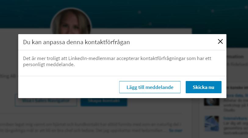 Kontaktförfrågan på LinkedIn?