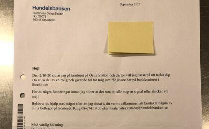 Personligt tackbrev från Handelsbanken