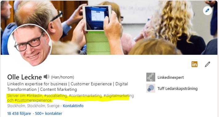 Linkedin profil skaparläget på exempel