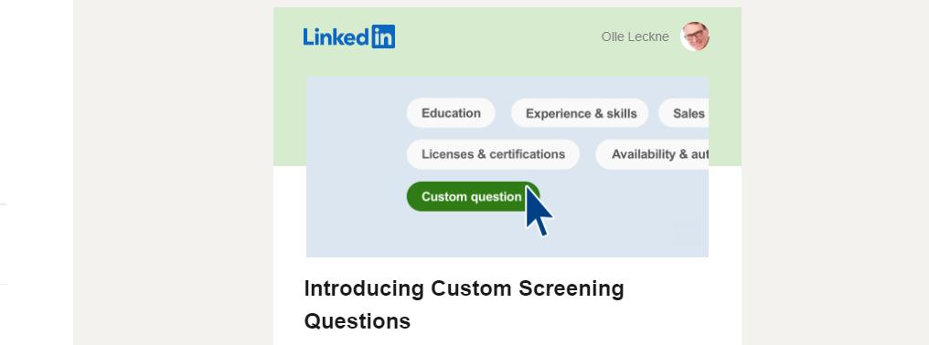 Jobbannonser med anpassade screeningfrågor